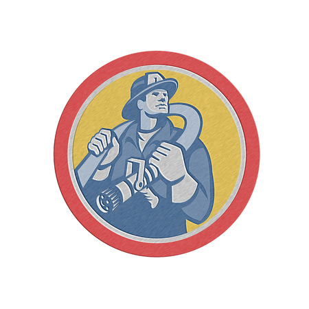 over the shoulder: Metallic styled illustration of a fireman fire fighter emergency worker holding fire hose over his shoulder viewed from front set inside circle done in retro style.