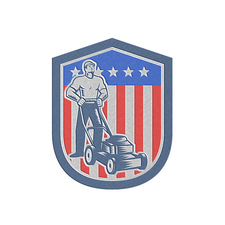 lawn mowing: Metallic styled illustration of male gardener mowing with lawn mower in american flag stars stripes set inside a shield done in retro woodcut style.  Stock Photo