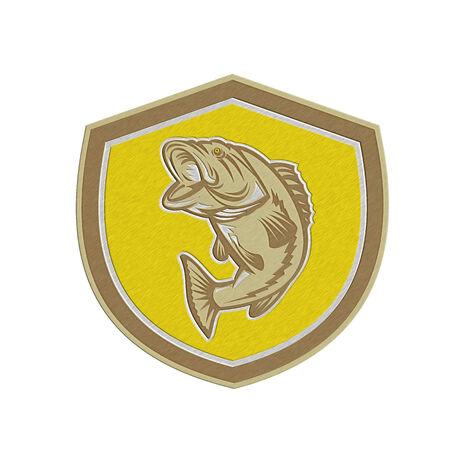 largemouth bass: Met�lico estilo ilustraci�n de un pez saltando lobina negra dentro de una cresta escudo hecho en estilo retro.