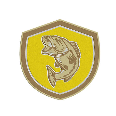 largemouth: Metallic styled illustration of a largemouth bass fish jumping inside a shield crest done in retro style. Stock Photo