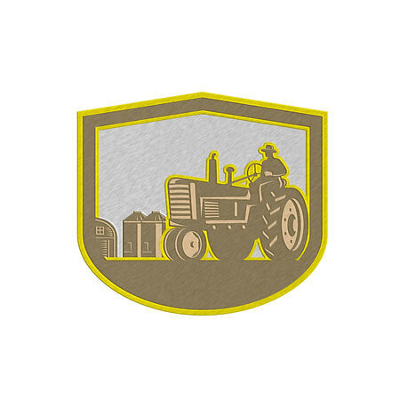 farm field: Metallic styled illlustration of a farmer worker driving a vintage tractor plowing farm field set inside shield crest done in retro style on isolated background.