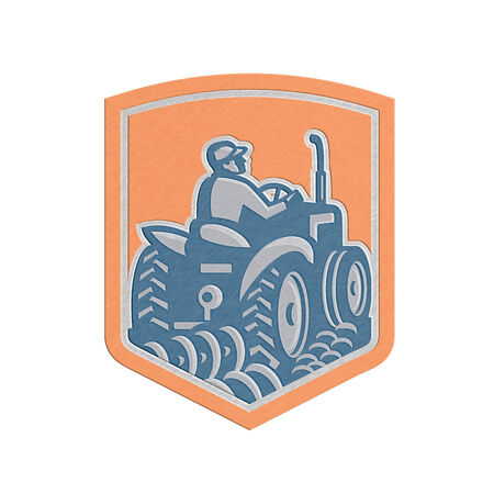 plowing: Metallic styled illlustration of a farmer worker driving a vintage tractor plowing farm field set inside shield crest done in retro style on isolated background.