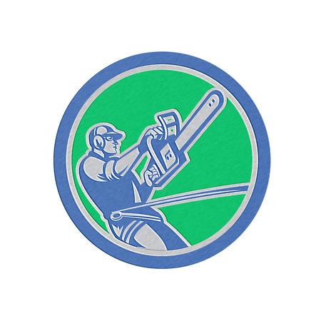 Metallic styled illustration of a tree surgeon arborist gardener tradesman worker hanging with harness holding a chainsaw side view inside a circle done in retro style. illustration