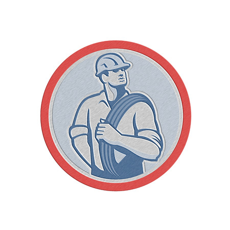over the shoulder: Metallic styled illustration of a power lineman telephone repairman worker holding wire cable over shoulder done in retro style set inside circle.