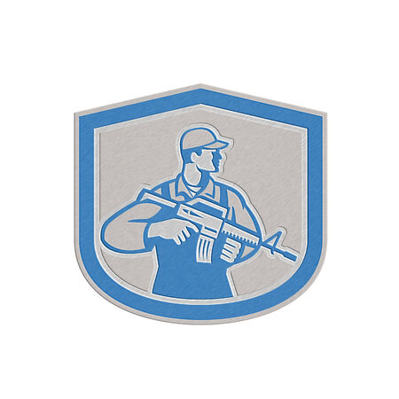 serviceman: Metallic styled illustration of an American soldier serviceman with assault rifle facing side set inside crest on isolated white background.