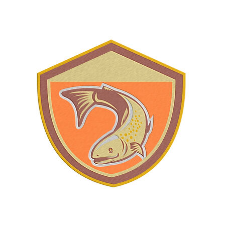 speckled trout: Metallic styled illustration of a trout fish swimming down set inside shield done in retro style