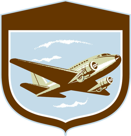 Illustration of a DC10 propeller airplane airliner on flight flying set inside shield crest shape on isolated background done in retro style. Illustration
