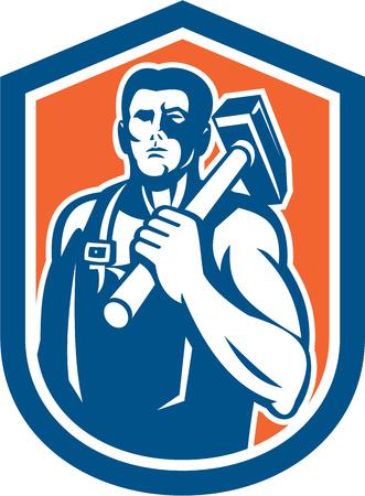 Illustration of a blacksmith worker carrying sledgehammer on shoulder set inside a crest shield done in retro style.