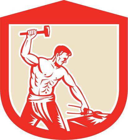 sledgehammer: Illustration of a blacksmith worker with sledgehammer striking at anvil set inside crest shield done in retro style.