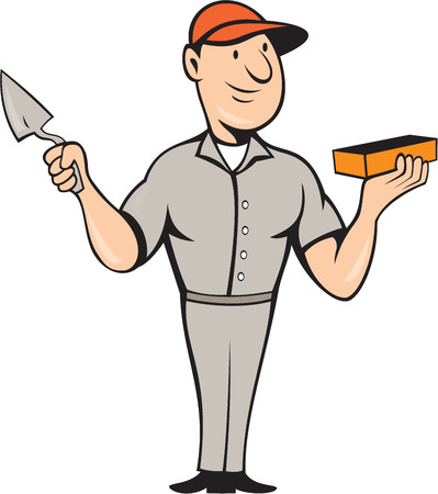 Illustration of a bricklayer mason plasterer worker holding trowel and brick standing front view on isolated white background done in cartoon style. Vector