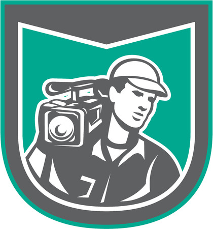 filming: Illustration of a cameraman film crew holding carrying hd video movie camera on shoulder set inside shield crest done in retro style on isolated backgrounbd. Illustration