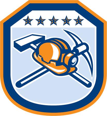 bauarbeiterhelm: Illustration eines Berg Helm mit gekreuzten Hacke und Hammer innerhalb Schild Wappen eingestellt auf isolierten backgorund im Retro-Stil getan.