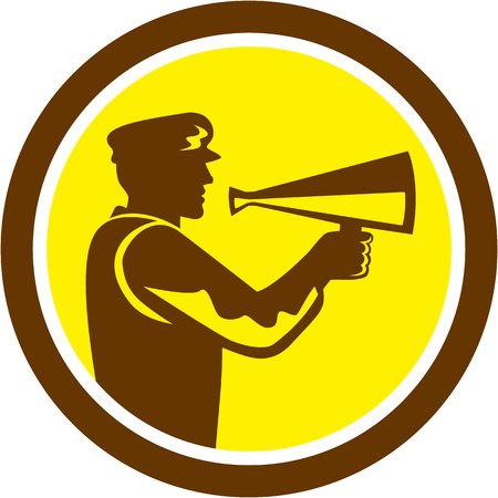 filmmaker: Illustration of a movie director cameraman shouting using bullhorn set inside circle done in retro style. Illustration