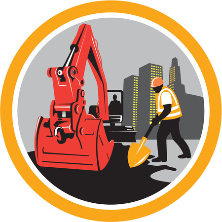 digger: Illustration of a construction mechanical digger excavator with construction worker digging with shovel buildings in background set inside circle done in retro style. Illustration