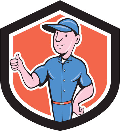 Illustration of a handyman repairman tradesman worker holding thumbs up viewed from front set inside shield crest shape on isolated background done in cartoon style.