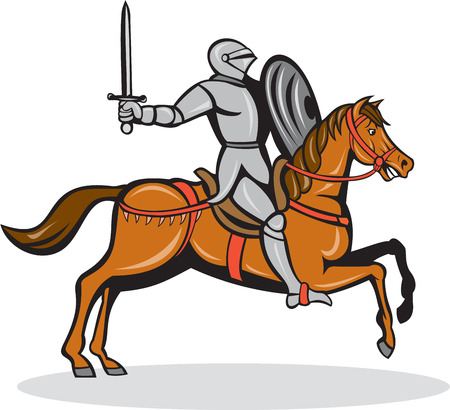 steed: Illustration of knight in full armor riding horse steed with sword and shield facing side on isolated background done in cartoon style.