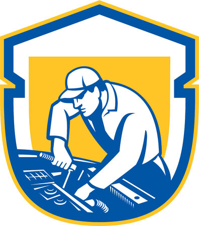 mechanic car: Illustration of an auto mechanic repairing automobile car vehicle set inside shield crest done in retro style. Illustration