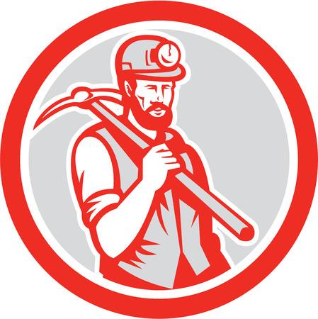 bauarbeiterhelm: Illustration eines Kohlebergmannes Hardhatholding Durchf�hrung querte Hacke auf der Schulter im Kreis im retro Holzschnitt-Stil auf wei�em Hintergrund getan. Illustration