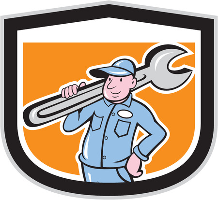 handyman cartoon: Illustration of a plumber holding big monkey wrench on shoulder set inside shield crest done in cartoon style on isolated background.