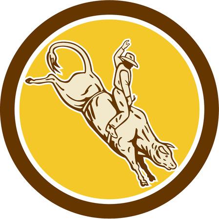bucking bull: Illustration of rodeo cowboy riding bucking bull set inside circle on isolated white background