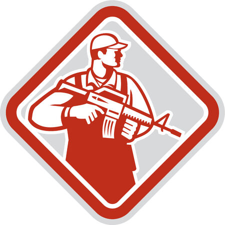 infantry: Illustration of an soldier serviceman military holding carrying assault rifle facing side set inside shield crest on isolated white background done in retro style