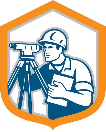 teodolito: Ilustración de un ingeniero geodésico topógrafo con el instrumento teodolito agrimensura visto desde lado dentro cresta escudo hecho en estilo retro en el fondo blanco aislado.