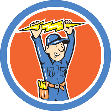 Illustration of a thunderbolt toolman electrician worker holding lightning bolt set inside circle done in cartoon style.  Vector