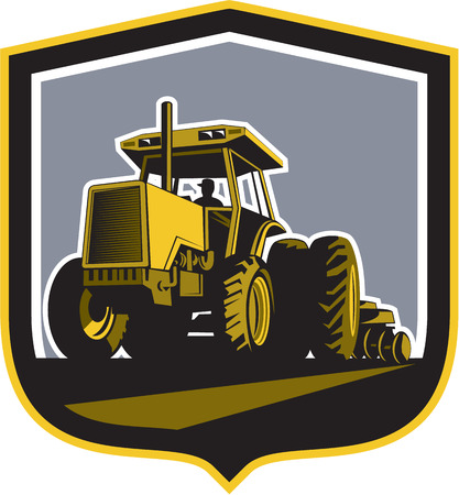 Illustration of a farmer driving riding vintage tractor plowing field front view set inside a shield crest done in retro style. Vector