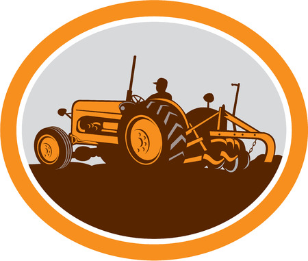 sideview: Illustration of a vintage tractor with farmer driver plowing field sideview set inside an oval done in retro style on isolated background.