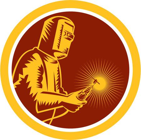 soldador: Ilustración del trabajador soldador que trabaja sosteniendo la antorcha de soldadura vista lateral dentro de círculo en el fondo aislado hecho en estilo retro.