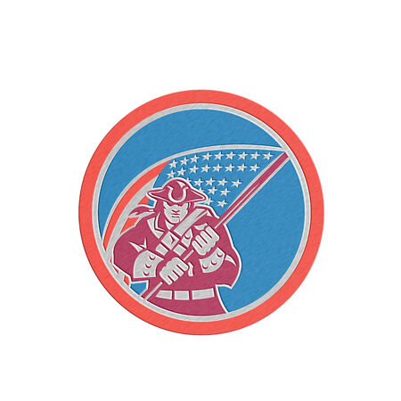 brandishing: Metallic styled illustration of an American Patriot brandishing holding a flag set inside a circle with on isolated background.