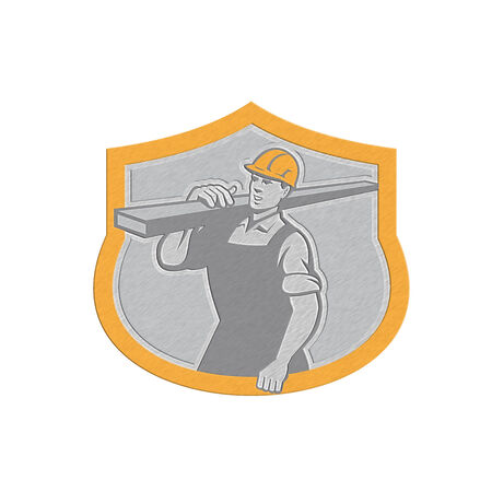 lumber: Metallic styled illustration of a carpenter builder carry carrying lumber on shoulder set inside shield crest shape on isolated background.  Stock Photo