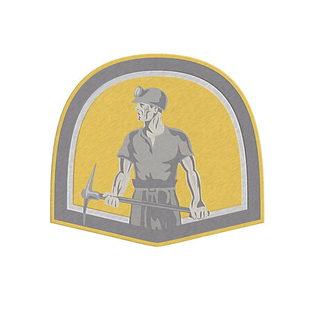 pick axe: Metallic styled Illustration of a coal miner wearing hardhat looking to the side holding a pick axe  set inside shield crest done in retro style.
