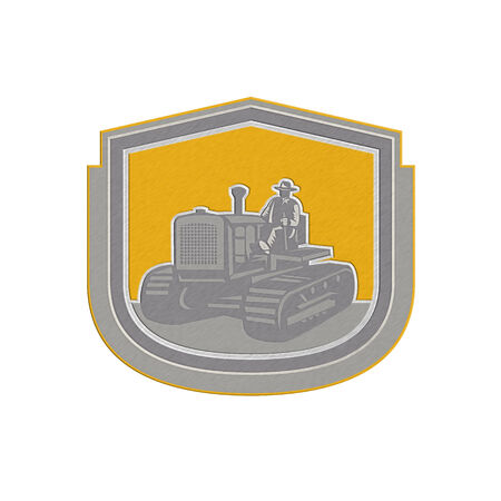 Metallic styled illustration of a farmer worker driving riding a vintage tractor plowing farm field set inside shield crest done in retro style on isolated background. illustration
