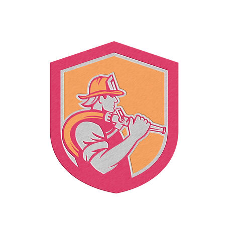 fire fighter: Metallic styled illustration of a fireman fire fighter emergency worker holding fire hose over his shoulder viewed from the side set inside shield crest done in retro style. Stock Photo