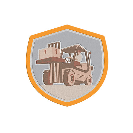 Metallic styled illustration of a forklift truck and driver at work lifting handling box crate done in retro style inside shield crest shape. Stock Photo