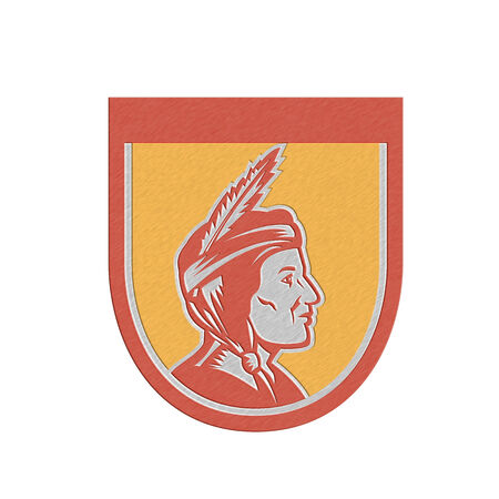 sideview: Metallic styled illustration of a native american indian chief sideview with headdress set inside shield crest on isolated background.