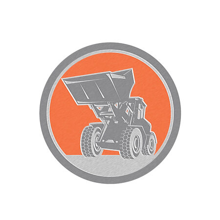 front end loader: Metallic styled illustration of a construction front end loader digger excavator viewed from front set inside circle done in retro style .