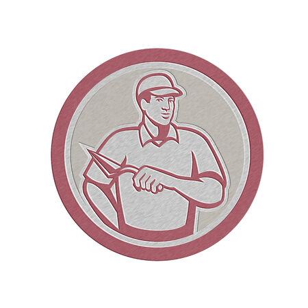 tiler: Metallic styled illustration of a tiler plasterer mason masonry construction worker wth trowel done set inside circle done in retro style.