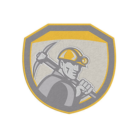 pick axe: Metallic styled illustration of a coal miner hardhat holding pick axe inside a shield done in retro style.