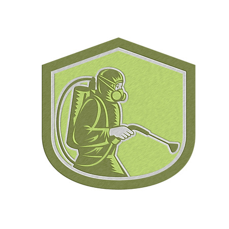 Metallic styled illustration of pest control exterminator spraying side view set inside shield crest on isolated background done in retro style.