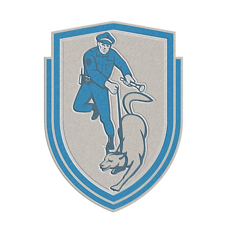 trained: Metallic styled illustration of a policeman police officer holding torch flashlight with trained police guard dog canine viewed from front set inside shield crest on isolated background done in retro style. Stock Photo