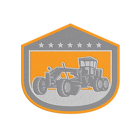 road grader: Metallic styled illustration of vintage road grader viewed from the front set inside shield crest shape done in retro style.