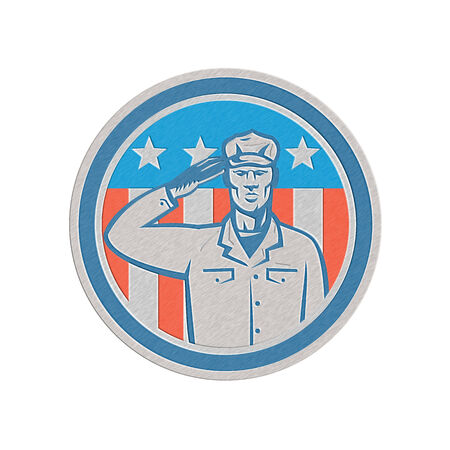 serviceman: Illustration of an American soldier serviceman saluting USA with stars and stripes in the background set inside circle done in retro style.