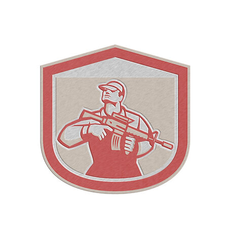 serviceman: Metallic styled illustration of an American soldier serviceman holding assault rifle looking up set inside shield crest on isolated background done in retro style.