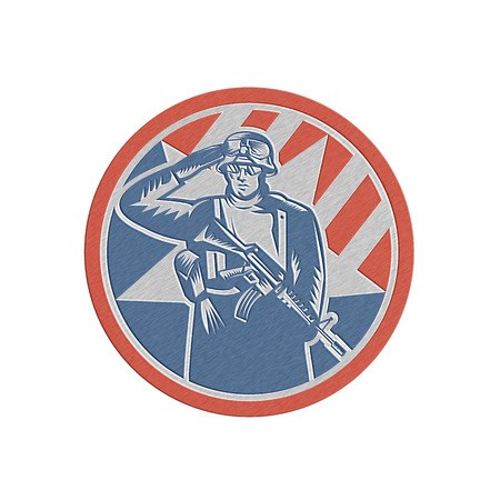 serviceman: Metallic styled illustration of an American soldier serviceman saluting holding rifle gun facing front inside circle done in retro style.