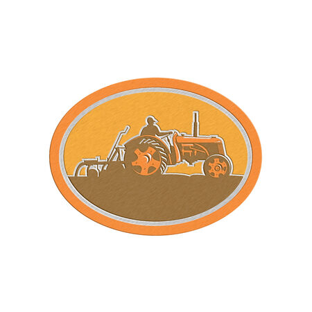 sideview: Metallic styled illustration of a farmer driving riding vintage tractor plowing field sideview set inside an oval done in retro style. Stock Photo