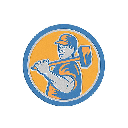 over the shoulder: Metallic styled illustration of a union worker holding sledgehammer hammer over shoulder done in retro style set inside circle on isolated background. Stock Photo