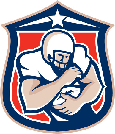 Illustration of an american football player with helmet on holding ball set inside shield crest viewed from the front done in retro style.  Vector
