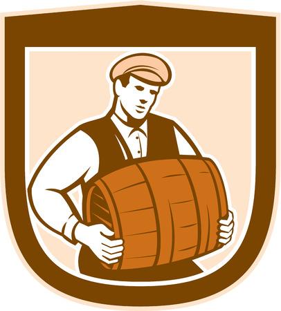 bartender: Illustration d'une valeur baril de travailleur de barman, ensemble, int�rieur bouclier cr�te sur fond blanc isol� fait dans le style r�tro. Illustration